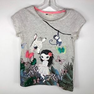 Girl's H&M SS Graphic Print Tee w/3-D Accents